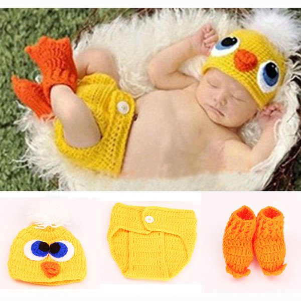 Duck Crochet Knit Baby Hat and Diaper Cover with Shoes Costume Outfit Newborn Photography Props Infant Animal Beanies Baby Hat BP031