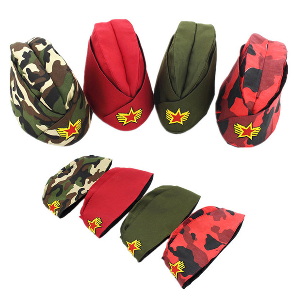 2017 New Women Star Logo Sailor Military Hat Tricorne Bonnet Russian Army Cap Camouflage Boat Caps Stage Performance Dance Hats