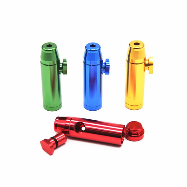 Aluminum metal Bullet Rocket Shaped Snuff Snorter Sniff Dispenser Nasal Smoking Pipe Sniffer glass bongs Endurable Tobacco Pipe