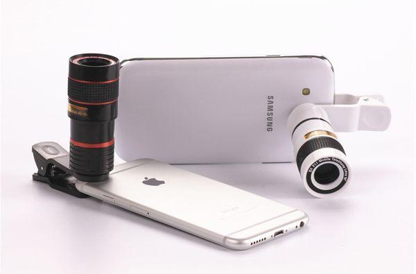 Ingrandimento 8X universale Zoom ottico Obiettivo fotocamera per telefono cellulare telescopio con clip per iPhone 6 6S Plus iPhone 8 Samsung Glaxy S8