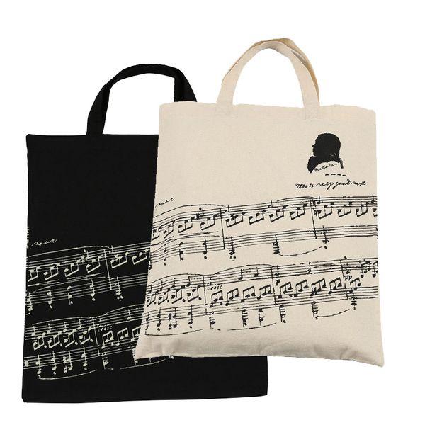 best selling Hot Selling Cotton Handbag Cotton Bag Shopping bags 2pcs Music Sheet Cotton Bag- Black and Beige