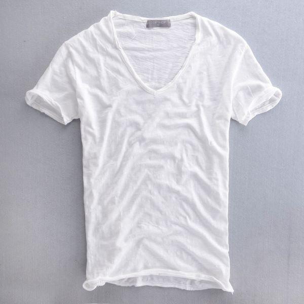 Wholesale- Hot Sale Cheap Men V-neck cotton Shirt Fashion Solid Short Sleeve Cardigan Popular Casual Shirt Summer Thin shirt For Male XXL