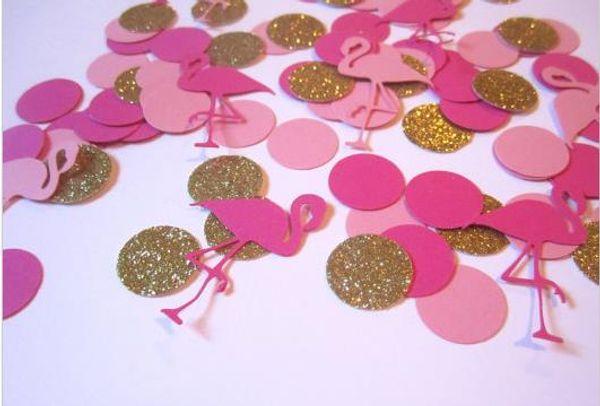 cheap 150pcs Custom glitter Flamingo Confetti wedding table scatters Christmas bridal shower bachelorette party decorations Festive