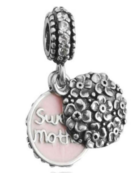 Toptan 30pcs Family Tree Kalp Gümüş Charm Boncuklar Sweet Anne Kardeş kolye Fit Avrupa Pandora Charms Sterling Bileklik Gerdanlık