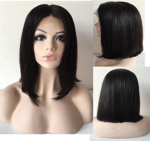 Human Hair Virgin Brazilian Hair Straight Bob Lace Front Wig Side Bang Yaki Bob Full Lace for Black Women Express Free Shipping Wigs