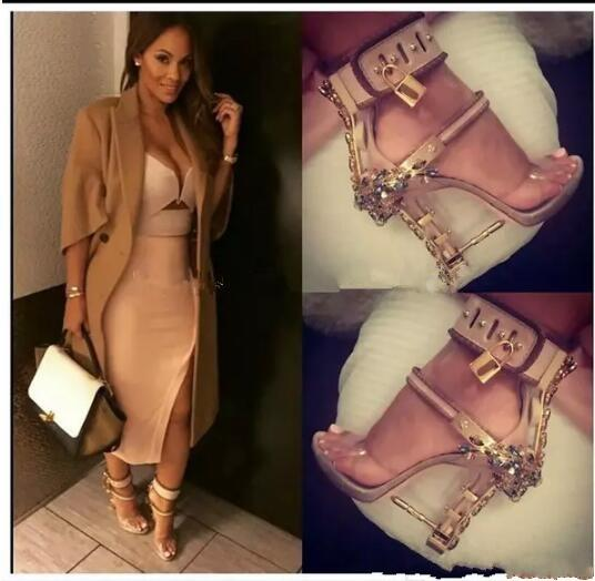 2017 Impera Rihanna Sexy Crystal Diamonds Sandals Padlock Spiked High Heels Women Pumps Colorful Beaded Celebrity Party Dress Shoes