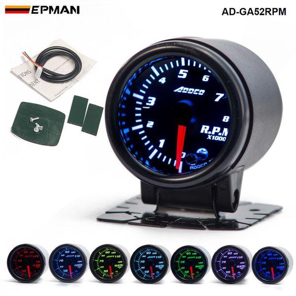 "top popular Car Auto 12V 52mm 2"" 7 Colors Universal Car Auto Tachometer Gauge Meter LED With Sensor and Holder AD-GA52RPM 2021"