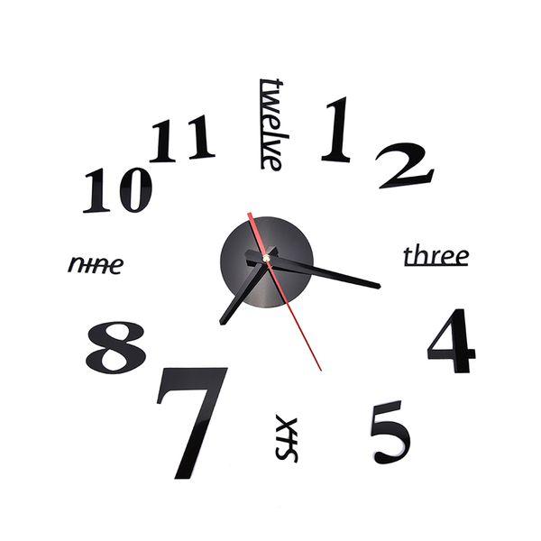 Wholesale-Fashion Quartz Clocks Watches 3D Real Big Wall Clock Rushed Mirror Sticker Diy Living Room Decor