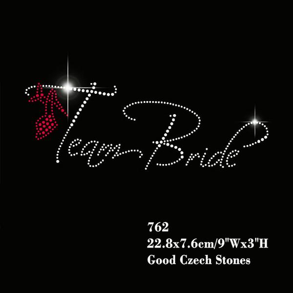 Team Bride With Shoe Motif Hotfix Rhinestone Wedding Party Iron On Transfer Bridal Party Design 30pcs/lot