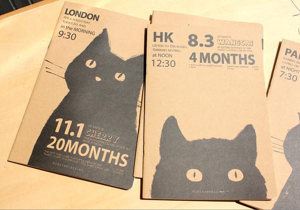 Wholesale- 4 x Brown Kraft Art Notebook Black Cat Notepad Sketchbook Cahier 21 x 14cm
