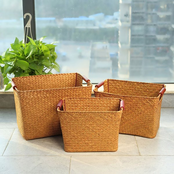 Storage box straw plaited article storage baskets organized crafts high quality woven straw baskets for sundries household box HWD88