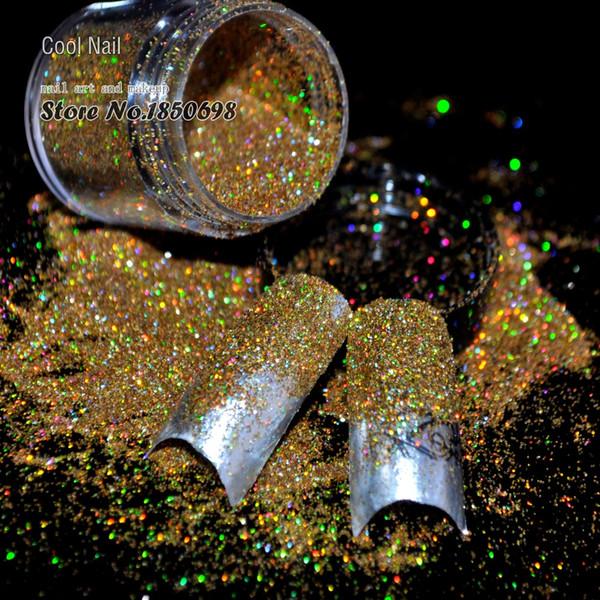 Gros-Réputation Acrylique UV Nail Art Paillettes Poudre Dust Conseils Décoration Laser Rainbow Or Maquillage Paillettes Art Conseils Décoration N47