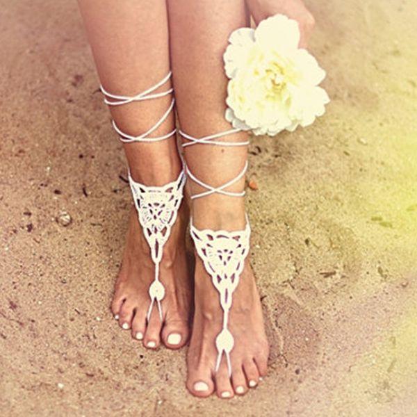 white wedding crochet barefoot sandalsnude shoesfoot jewelrybridesmaid accessoryyoga