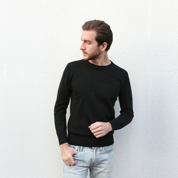 best selling Wholesale 2017 new best-selling high-end casual fashion round neck men's polo sweater brand 100% cotton pullover men's sweater free shipping