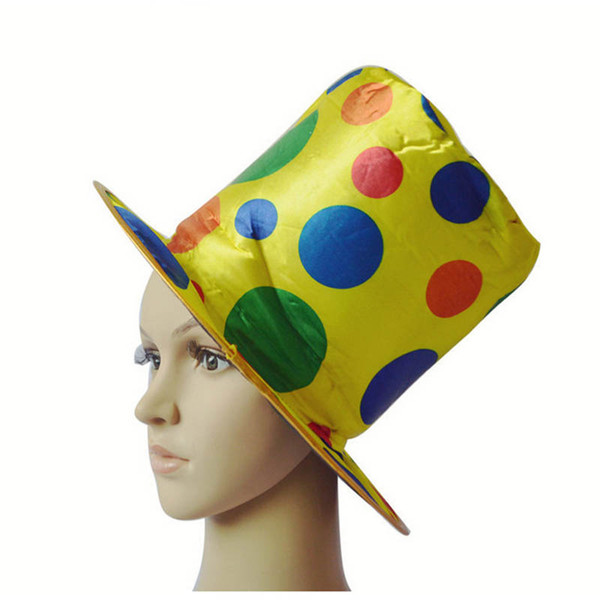 Fashion Women Men Polka Dot Clown Top Hat For Circus Magician Fancy Dress Decoration Carnival Halloween Party Hats Supplies