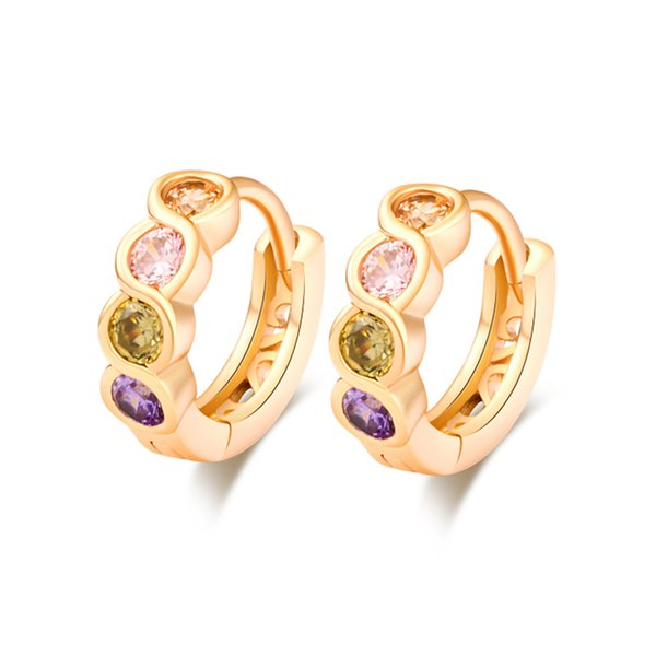 Multicolor Cubic Zirconia CZ 18K Yellow Gold Plated Small Huggie Hoop Earrings Anti-Allergic Jewelry for Women Festive Gift