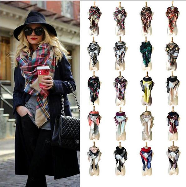 best selling Fashion Women Plaid Triangle Mesh Tassel Plaid Scarf Plaid Winter Scarf Blanket W011