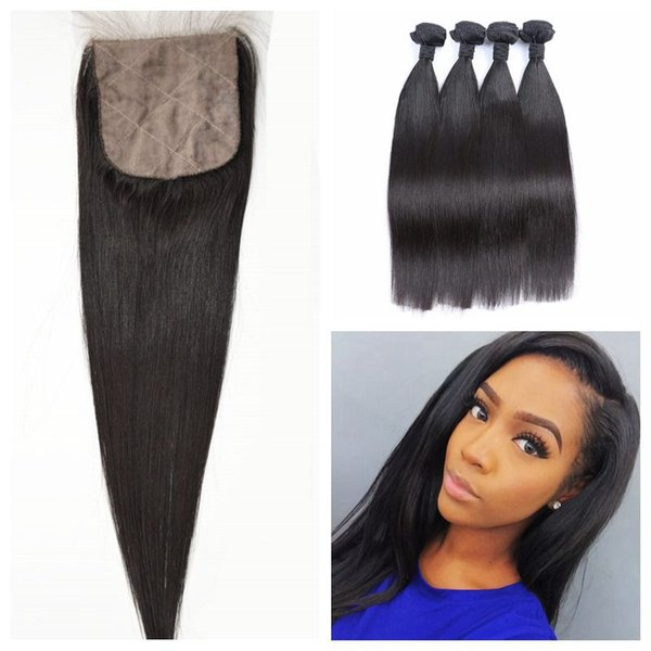 4pcs Human Hair Wefts With Closure Virgin Peruvian Straight Silk Base Closure With Bundles 5pcs Lot G-EASY