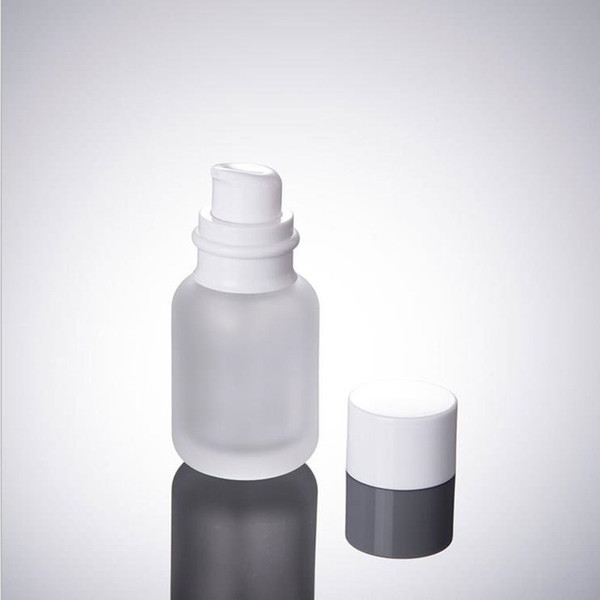 50ML Frost Glass Cosmetic Bottles, 1.7OZ Glass Lotion Bottles, 50CC Glass press Bottle, tapa blanca Botella vacía F2017458