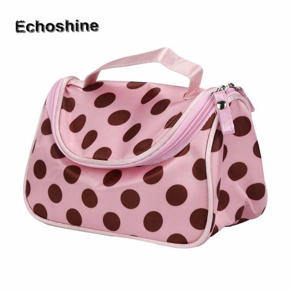Wholesale- 2016 hot sale cute Polka Dot Flip Double Zipper Cosmetic Bag Lady Travel Makeup bag make up bags box organizer pouch Clutch