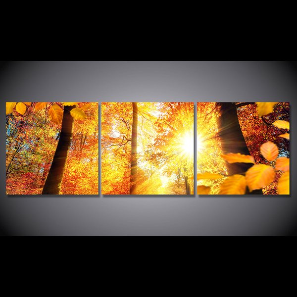 3 Pcs/Set Framed HD Printed Autumn Sunshine Trees Maple Picture Wall Art Canvas Print Decor Poster Canvas Modern Oil Painting