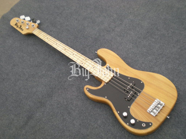 free shipping wholesale and retail new Big John elm body left-hand natural electric bass guitar F-1291