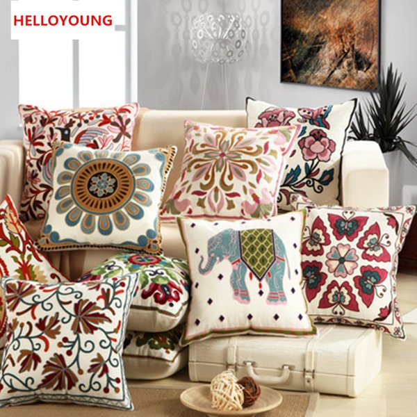 BZ022 Decorative embroidery sofa cushion cover throw pillows covers 45cm*45cm without filling soft towel embroidery flowers