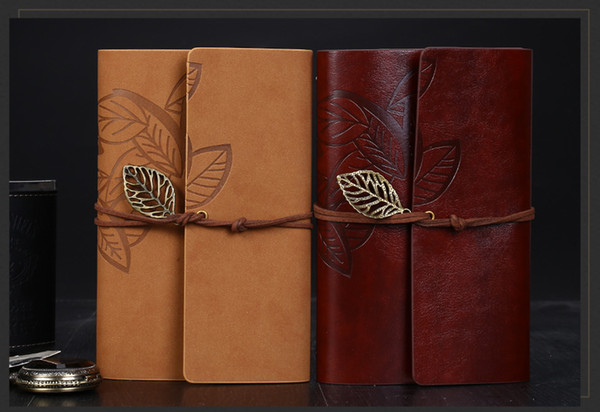 top popular Vintage Leather Travel Journal Notebook Leaves Decoration stationery notebook a7 leaves A6 stationery student notepads school supplies 2021