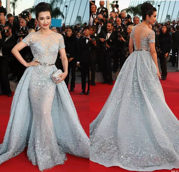 Cannes Film Festival Zuhair Murad Celebrity Dresses With Detachable Train Sheer Neck Mermaid Evening Dress Red Carpet Short Sleeve Prom Gown