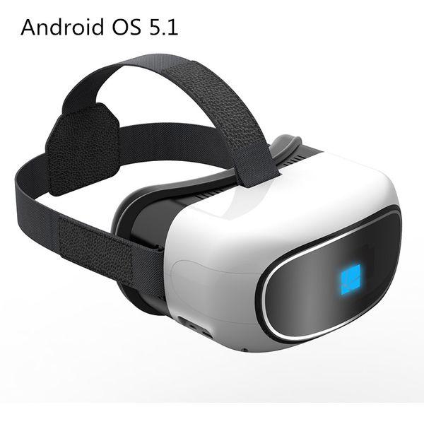 Vente en gros- Tout en un Google Cardboard réalité virtuelle 3D vidéo Verre Android 5.1 Quad Core 1 + 8G Smart WIFI TF carte Bluetooth 5 pouces écran