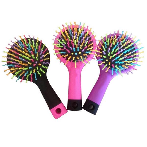Wholesale- Baby Magic HairBrush Rainbow Head Massager Comb Girls Volume Hair Brush Hair Bath Anti-static Brush Candy Women Comb With Mirror