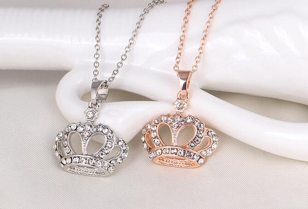 Good A++ Decorative fashion diamond necklace distinguished personality gold crown pendant WFN417 (with chain) mix order 20 pieces a lot