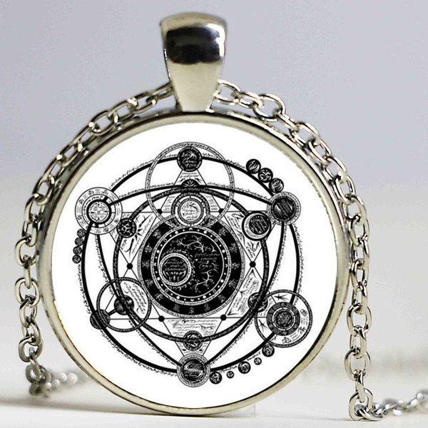 1pcs Sigil Magic Witchcraft Pendant Choker Statement Silver Necklace For Women Dress Accessories -Abaicer Jewelry