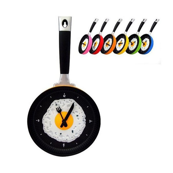 top popular Creative Omelette Pan Wall Clock Decor Living Room Horloge Watch Flat Bottom Pot Alarm Clock Fried Egg Decoration Free Shipping ZA2646 2019