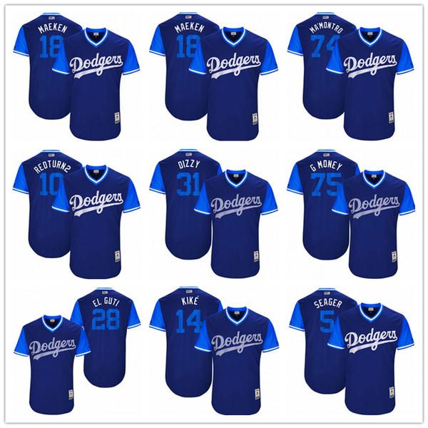 baseball jerseys Los Angeles Dodgers 18 Maeken 74 MaMontro 10 Redturn2 5  Seager El Guti Blue bbdae28c8d1