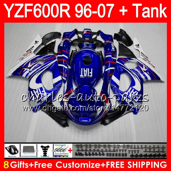 8Gifts For YAMAHA Blue white Thundercat YZF600R 02 03 04 05 06 07 55NO10 YZF 600R 96-07 YZF-600R 2002 2003 2004 2005 2006 2007 Fairing kit