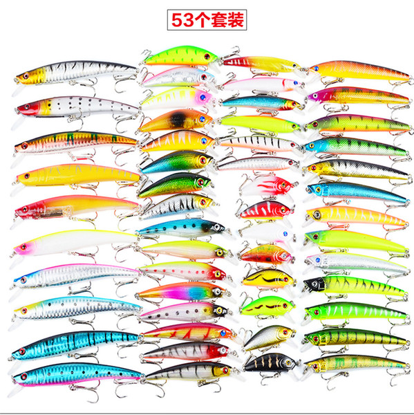53pcs/lot High Quanlity Fishing Lures Set Mixed 7 styles ABS Plastic Minnow Lure Crank Bait Pencil and Rattlin Baits
