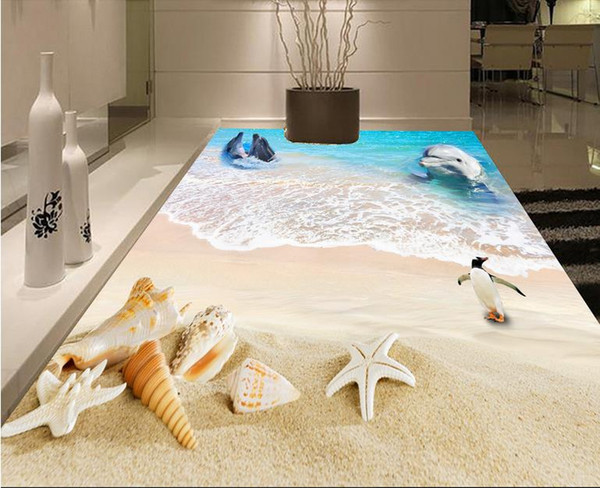 pvc vinyl flooring Aesthetic underwater world 3D dolphin tile floor three-dimensional painting background wall