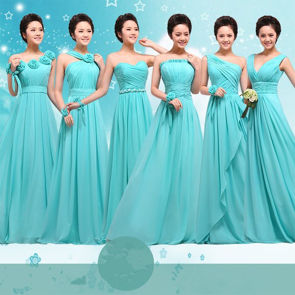 Cheap Price Long Chiffon Blue Bridesmaid Dresses Formal Party Dress With Handmade Flowers Custom Made Colors Maxi Dress Prom Gown