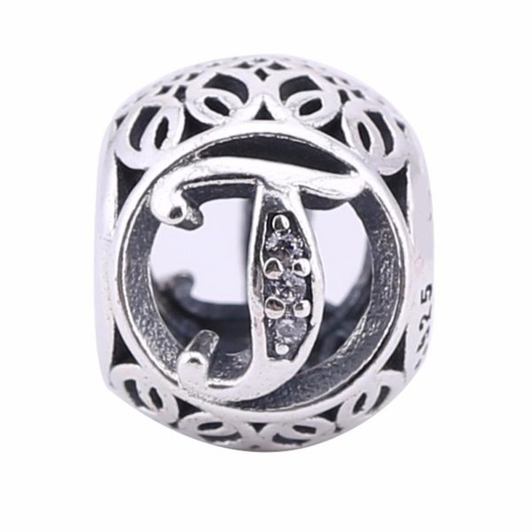 Openwork Vintage T Charms Beads 925-Sterling-Silver Crystal Alphabet Letters T Beads For European Jewelry Diy Brand Bracelets Making