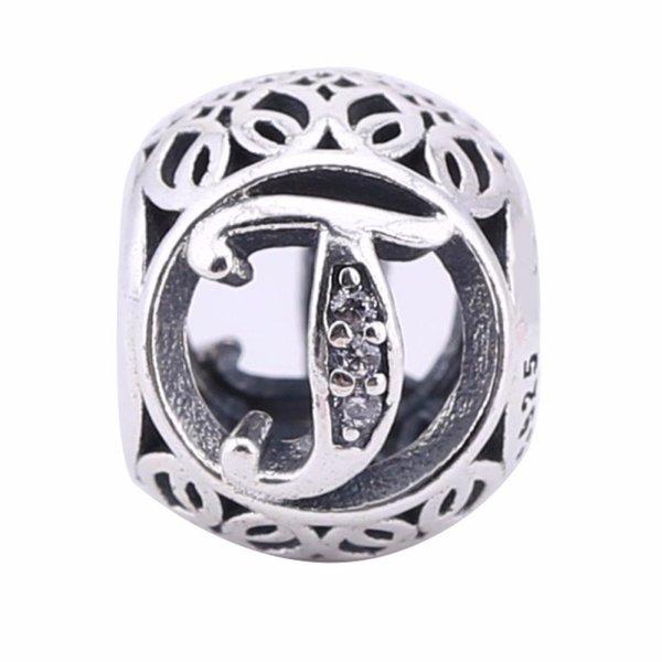Calado Vintage T encantos de los granos 925-Sterling-Silver Crystal Alphabet Letters T Beads para la joyería europea Diy marca pulseras haciendo