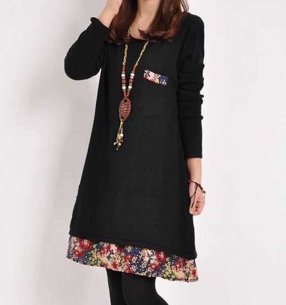 Women Dress Large Size Print Cotton European Female Fashion New Fat Dress Good Guality