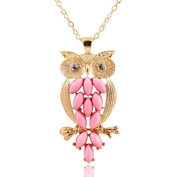 Pendant Necklaces for women Vintage Pink Gem owl chain long necklace jewelry for women Ancient Retro Owl Sweater Chain Necklace