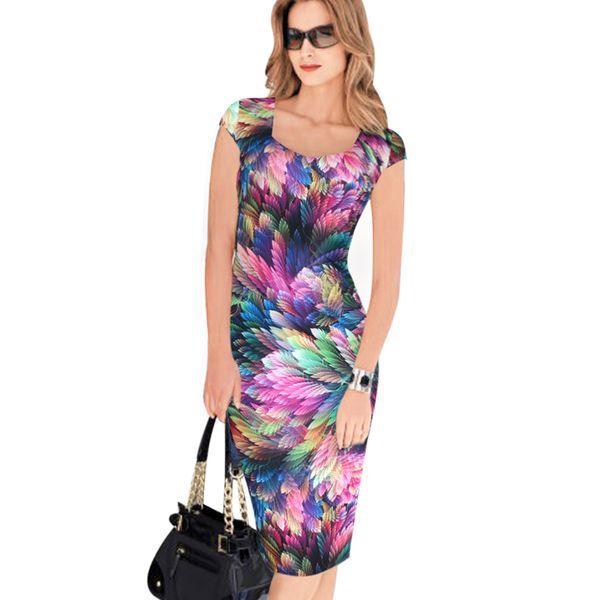 Designer Women Dress Elegant Floral Print Work Business Casual Party Pencil Sheath Vestidos Fashion Free Shipping