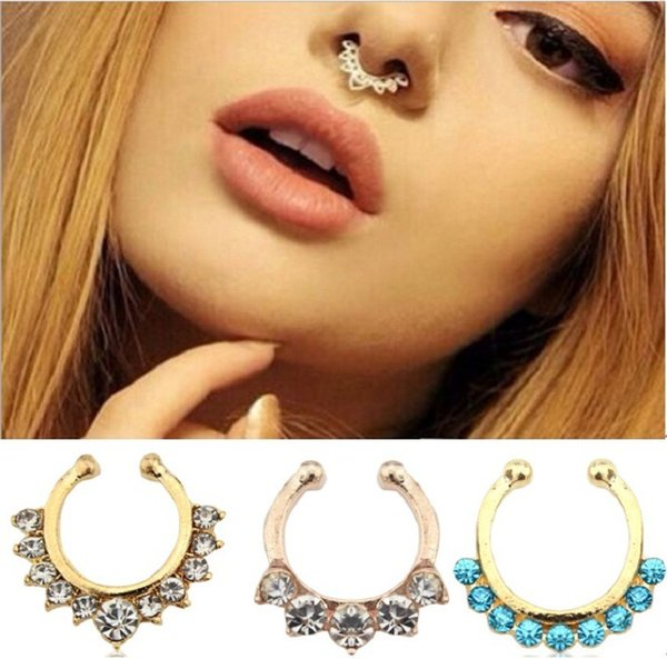 Hot sale Crystal fake septum Nose Rings piercing clip on body jewelry faux hoop nose Studs for women&Ladies Fashion Jewelry bulk lots