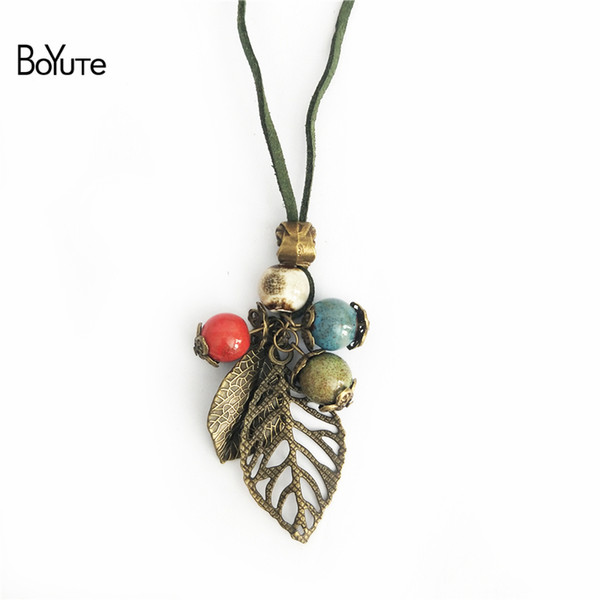BoYuTe New Product 5Pcs Ethnic Necklace Women Long Rope Chain Ceramic Bead Leaf Pendant Necklace Jewelry