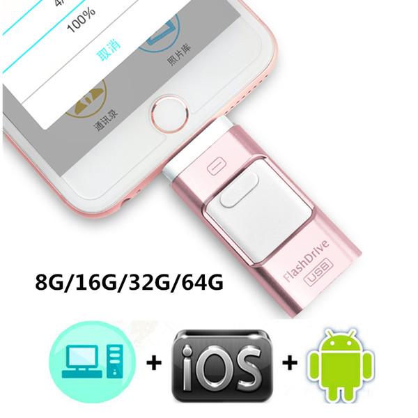 OTG 3 en 1 Clé USB Clé USB Drive Clés USB Clé USB i-Flash Pendrives Pour iPhone 8 7 6 Samsung S7 S6 PC