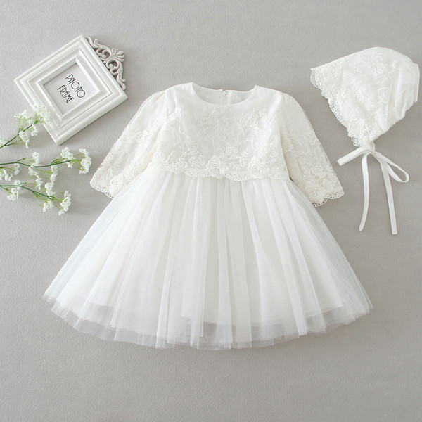 a3a9350d47b2b 2019 Newborn Baby Christening Gown Infant Girls White Princess Lace Baptism  Dress Toddler Baby Girl Chiffon Dresses Longsleeve With Hat From ...