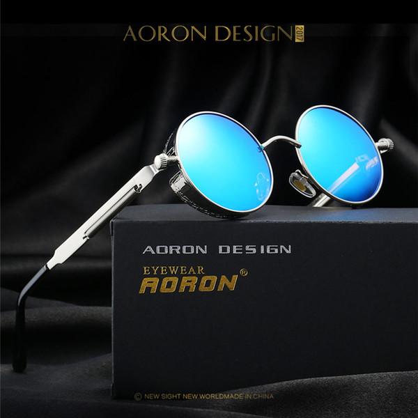 Wholesale- 2017 New Gold Round Polarized Sunglasses Fashion Gothic Steampunk Sunglasses Mens Womens Hot UV400 Rays Vintage Shield Eyewear