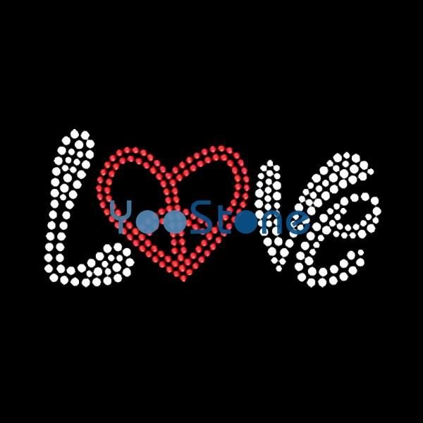 For Sale Wholesale Hotfix Motif Word Peace Love Iron On Rhinestone Transfer Hot Fix Applique For Clothing
